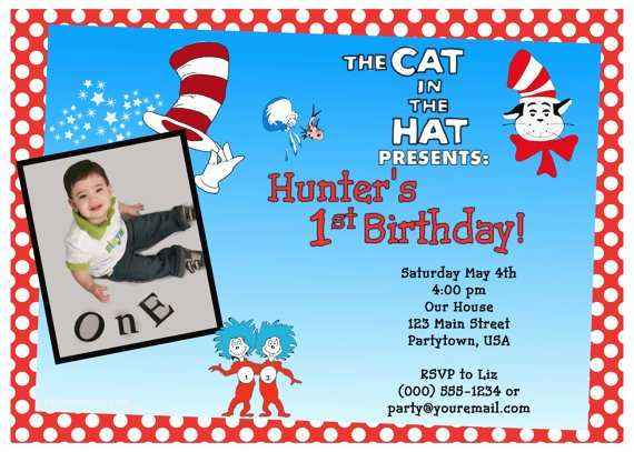 Cat In the Hat Birthday Invitations Customized Cat In the Hat Birthday Invitations