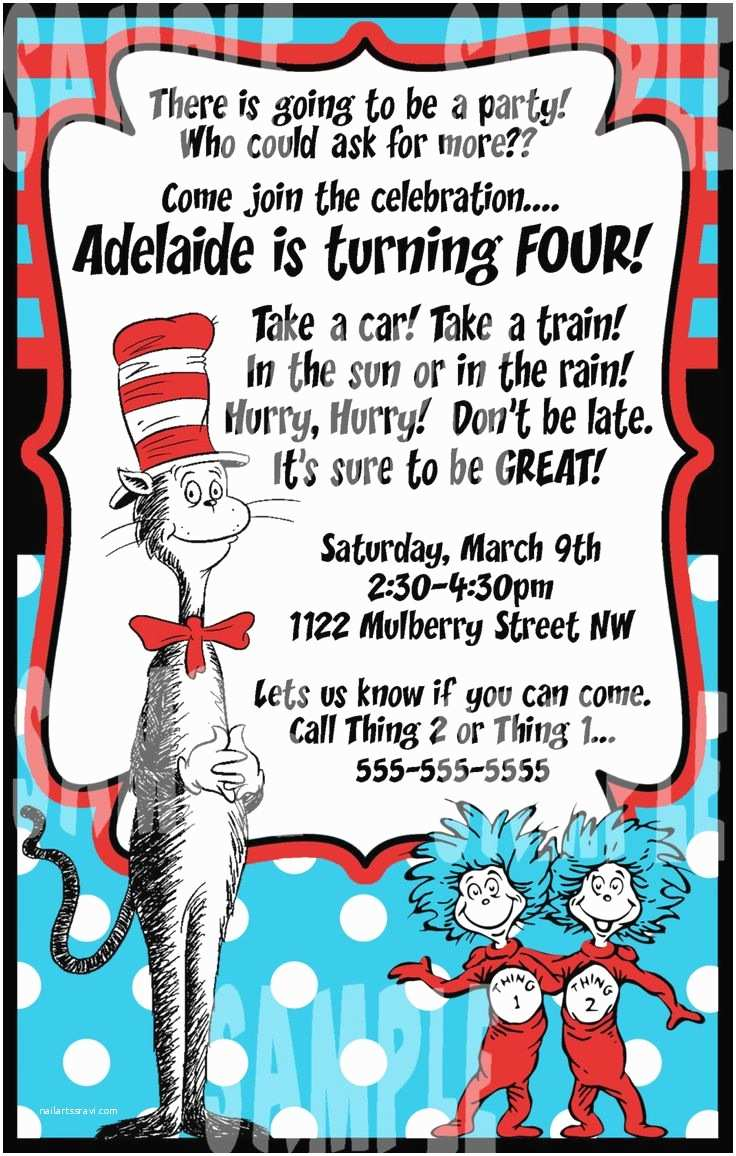 Cat In the Hat Birthday Invitations Dr Seuss Cat In the Hat Birthday Party Invitation Jpeg