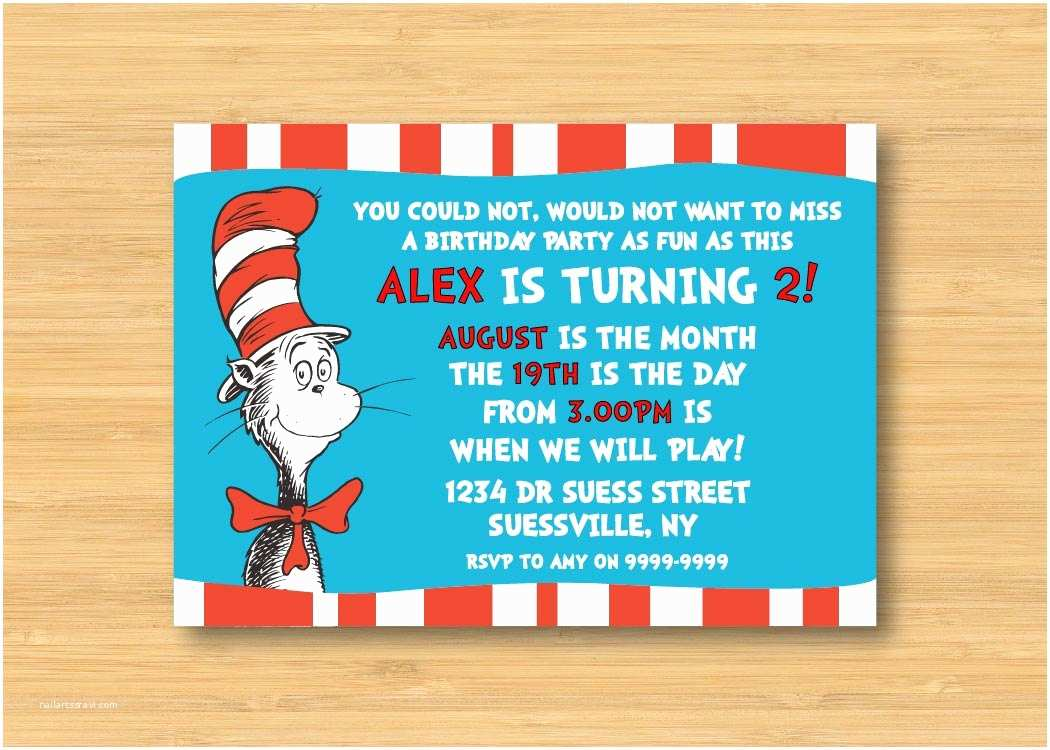 Cat In the Hat Birthday Invitations Dr Seuss Cat In the Hat Invitation Printable 5 X 7