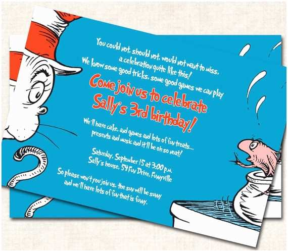 Cat In the Hat Birthday Invitations Items Similar to Cat In the Hat Birthday Invitation Blue