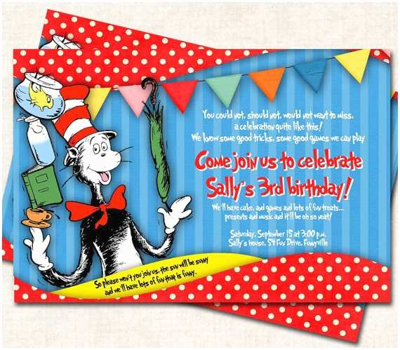 Cat In the Hat Birthday Invitations Items Similar to Cat In the Hat Birthday Party Invitation