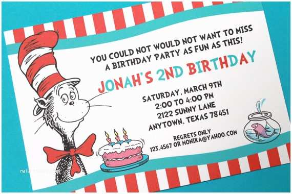 Cat In the Hat Birthday Invitations Items Similar to Cat with the Hat Birthday Party