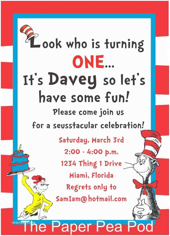Cat In the Hat Birthday Invitations Items Similar to Dr Seuss Inspired Printable Custom