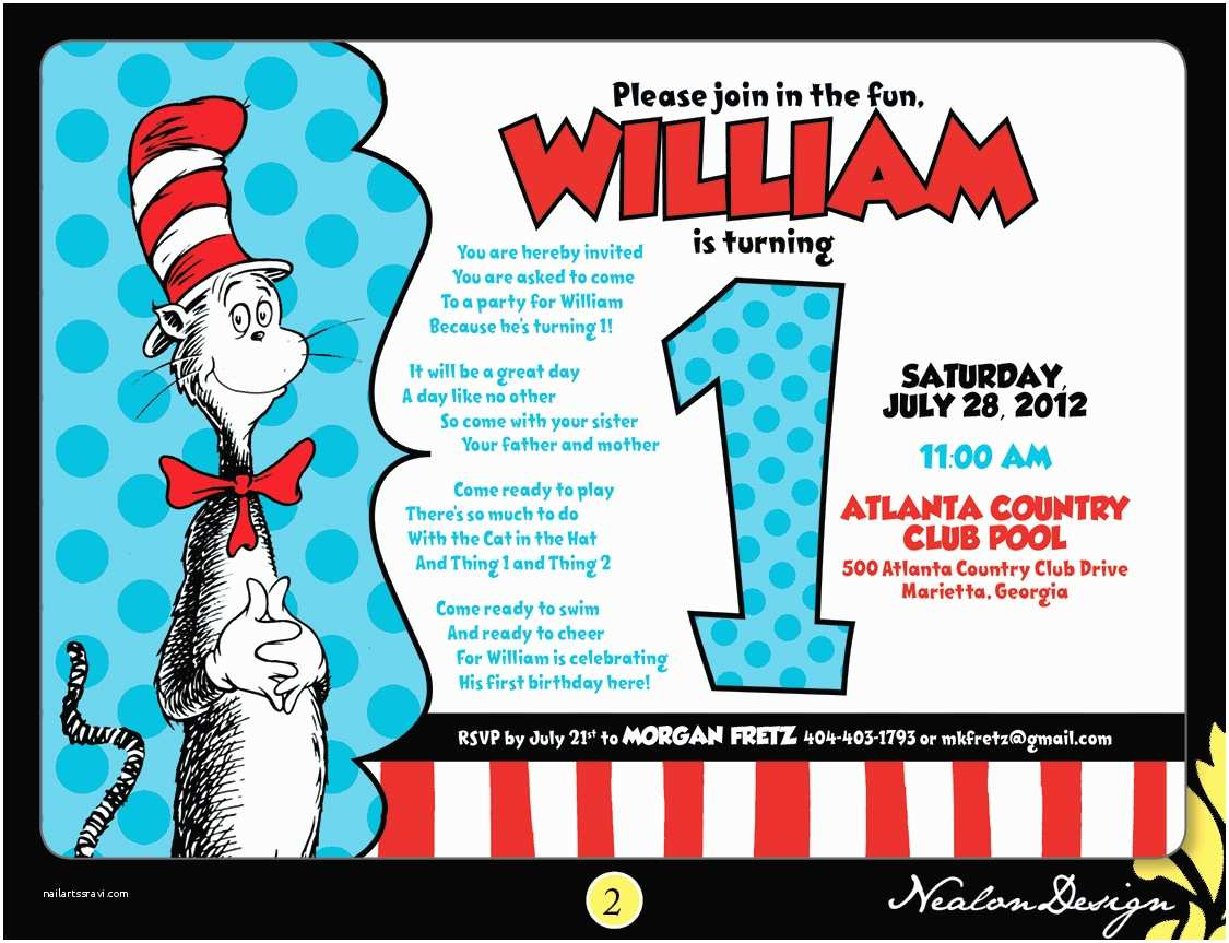 Cat In the Hat Birthday Invitations Nealon Design Cat In the Hat First Birthday