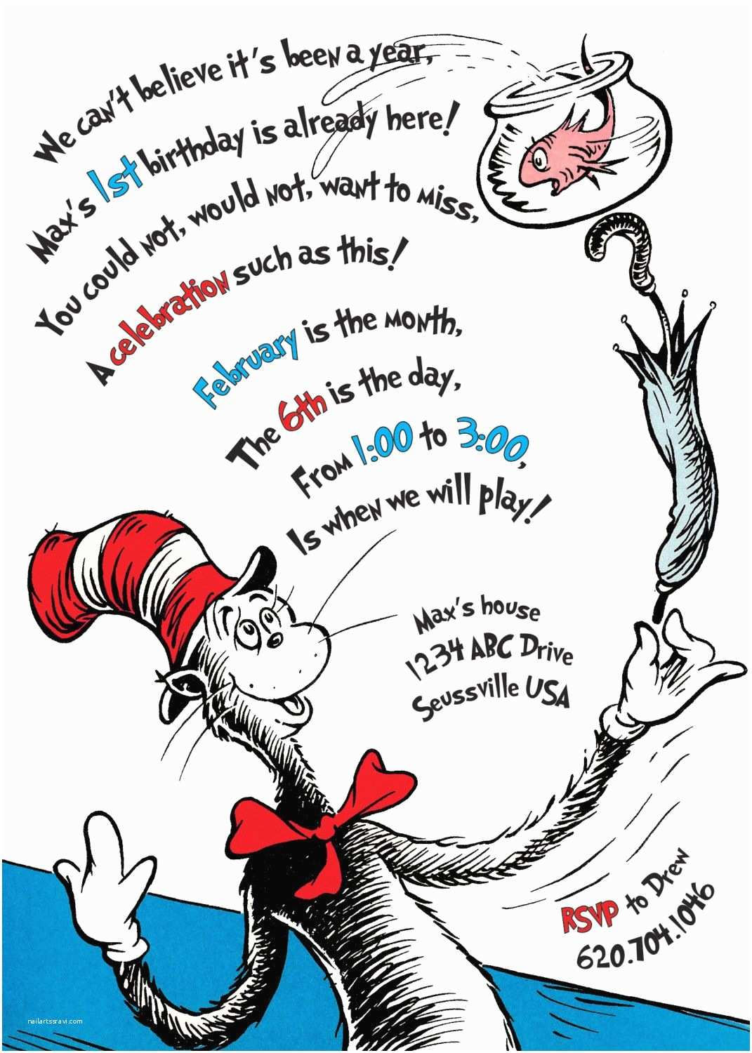 Cat In the Hat Birthday Invitations the Cat In the Hat Birthday Invitation Printable