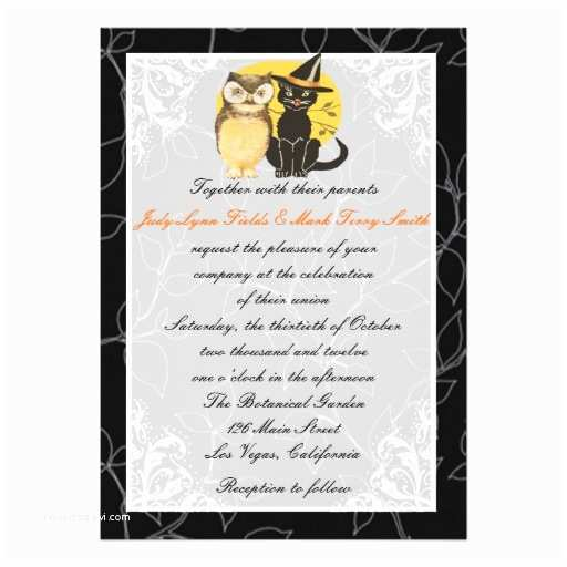 "Cat Wedding Invitations Cat & Owl Halloween Wedding Invitation 5"" X 7"" Invitation"