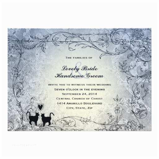 Cat Wedding Invitations Cat Lovers ornate Blue Vintage Wedding Invitation