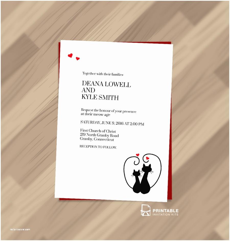 Cat Wedding Invitations Cats In Love Wedding Invitation Template ← Wedding