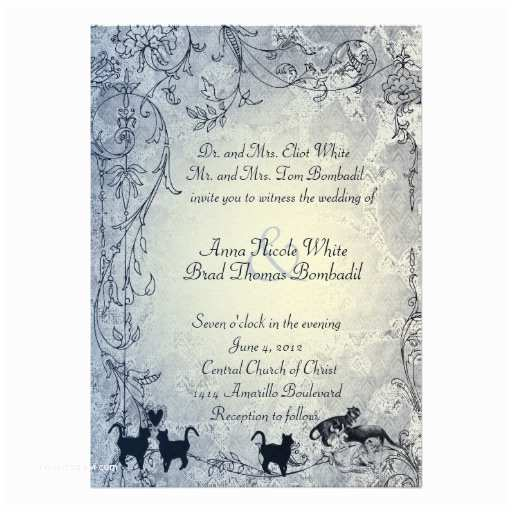 Cat Wedding Invitations Pale Blue Vintage Shabby Garden Cat Wedding 5x7 Paper
