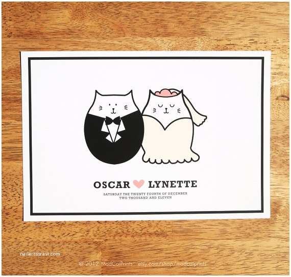 Cat Wedding Invitations Personalized Cute Cat Couple Wedding Art Printable by
