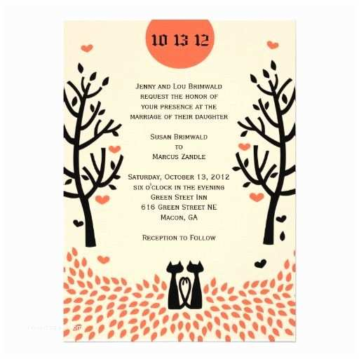 Cat Wedding Invitations Two Cats Fall Wedding Invitation