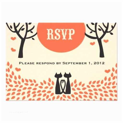 Cat Wedding Invitations Two Cats Fall Wedding Invitation Rsvp