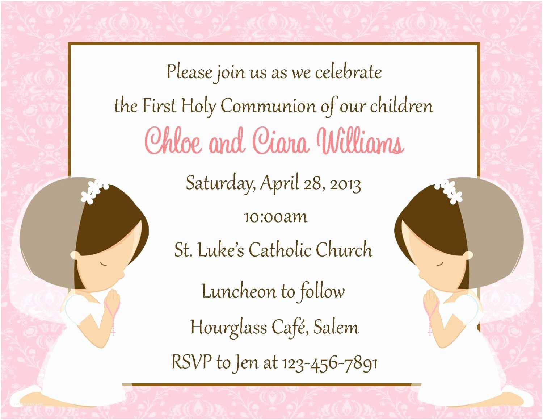 Catholic First Communion Invitations First Munion Invitation Twins Digital File Girls