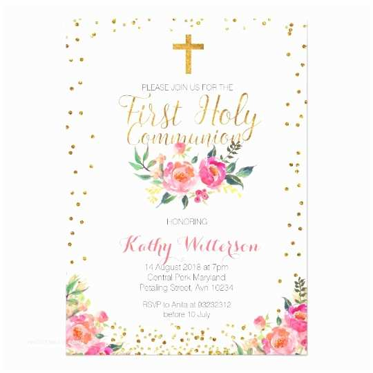 Catholic First Communion Invitations Floral Girl First Holy Munion Invitation