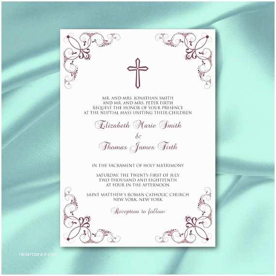 Catholic Wedding Invitation Wording Sacrament Catholic Wedding Invitation Template Diy Elegant Wine Red