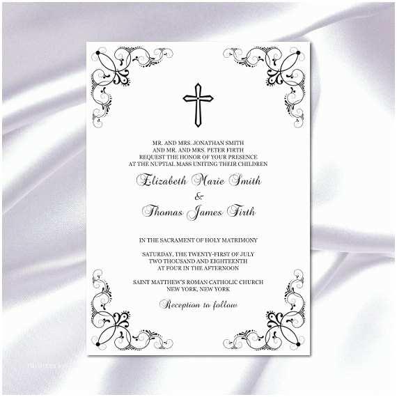 catholic wedding invitation template diy printable black