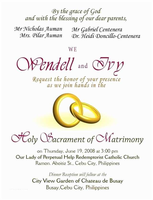 Catholic Wedding Invitation Wording Sacrament Invitation Letter Wedding Sample