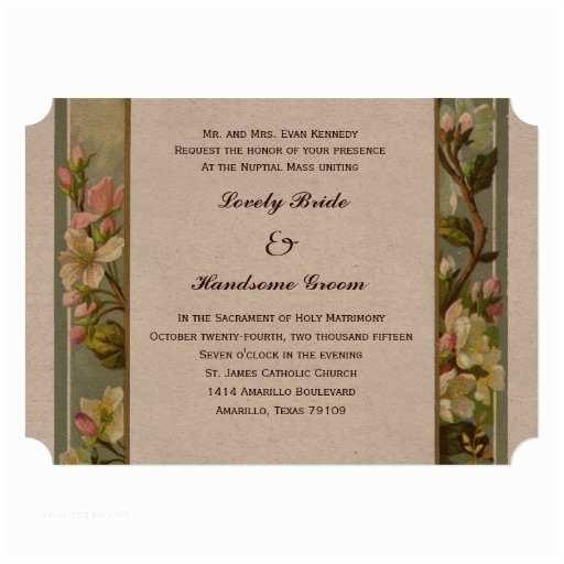 Catholic Wedding Invitation Wording Sacrament Vintage Lily Cross Catholic Wedding Invitation