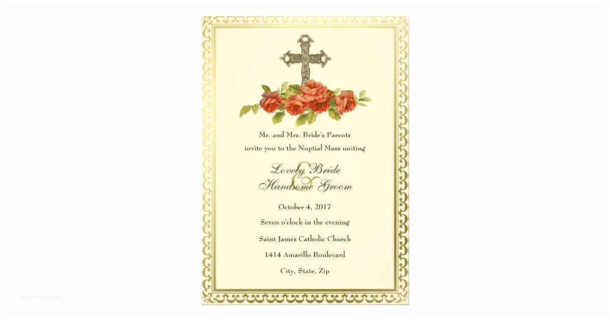 Catholic Wedding S Catholic Cross Vintage Roses Wedding