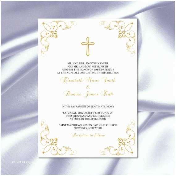 Catholic Wedding Invitations Catholic Wedding Invitation Template Diy Printable Gold Cross