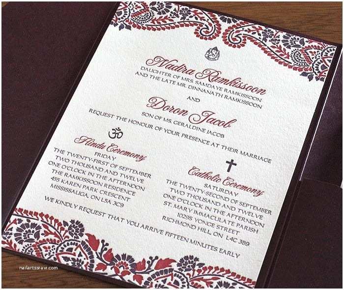 Catholic Wedding Vitations Hindu And Catholic Multicultural Wedding Vitation