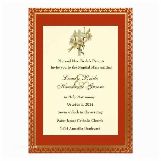 Catholic Wedding Invitations Red Cross Lilies Catholic Wedding Invitation