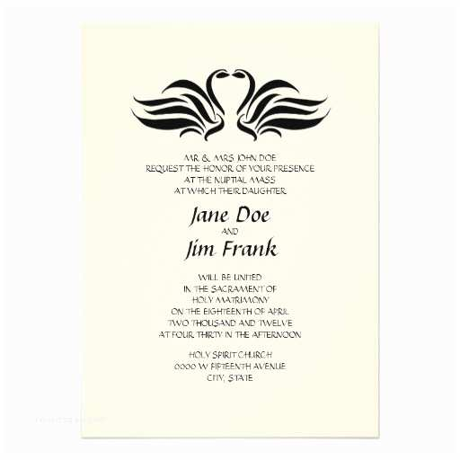 "Catholic Wedding Invitations Swans formal Catholic Wedding Invitation 5"" X 7"