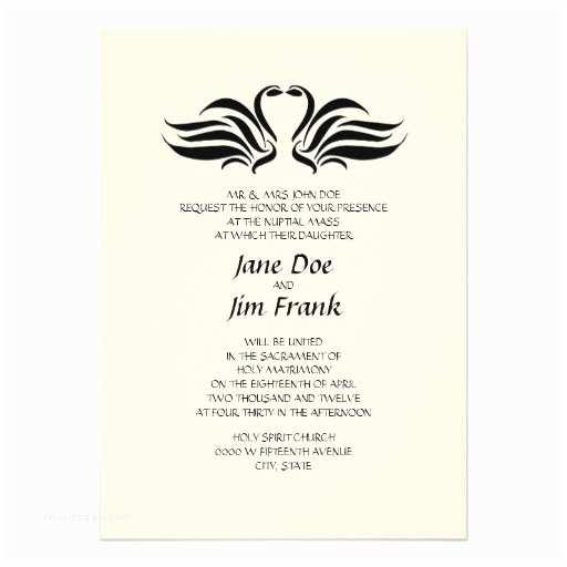 "Catholic Wedding Invitations Swans Formal Catholic Wedding Invitation 5"" X"