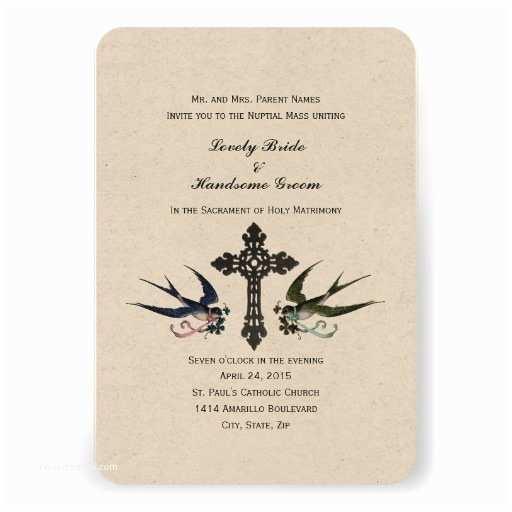 "Catholic Wedding Invitations Vintage Birds Catholic Small Wedding Invitation 3 5"" X 5"