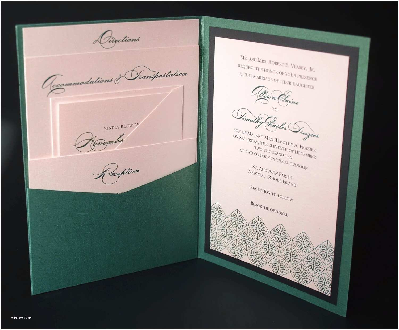 Celtic Wedding Invitations Irish Green Celtic Wedding Invitation A7 Pocket by