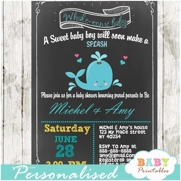Chalkboard Baby Shower Invitations Blue Whale Chalkboard Baby Shower Invitation Boys D185
