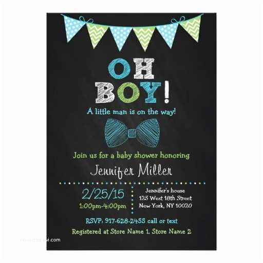 Chalkboard Baby Shower Invitations Bow Tie Chalkboard Oh Boy Baby Shower Invitations