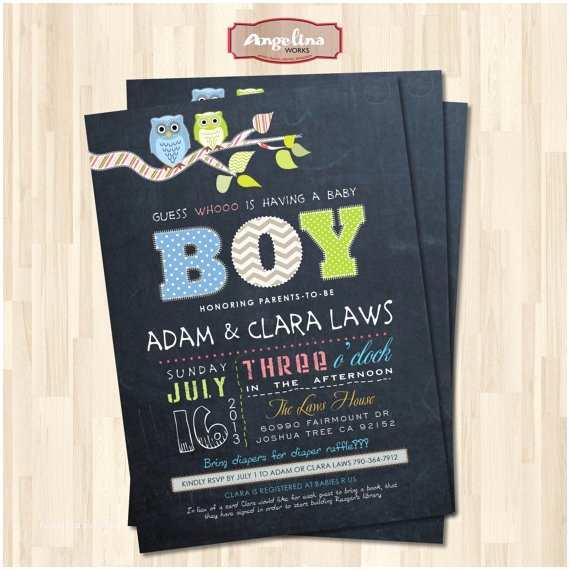 Chalkboard Ba Shower Invitations Chalkboard Ba Boy Shower Invitation Owls Diy