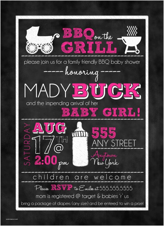 Chalkboard Baby Shower Invitations Chalkboard Bbq Baby Shower Invitation Girl Or Boy