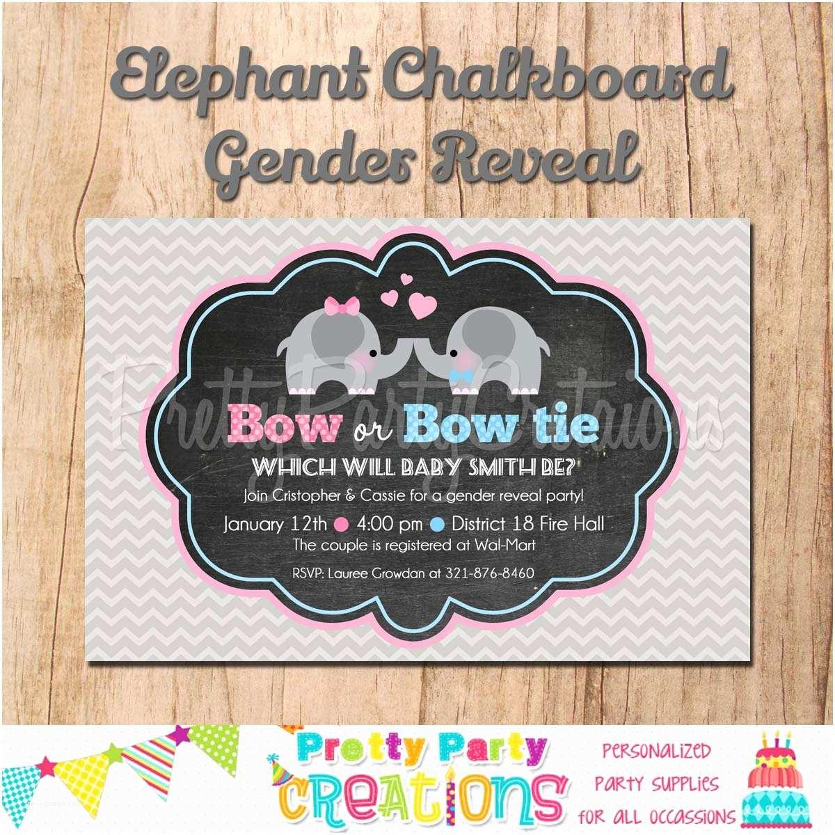Chalkboard Baby Shower Invitations Chalkboard Elephant Gender Reveal Baby Shower Invitation
