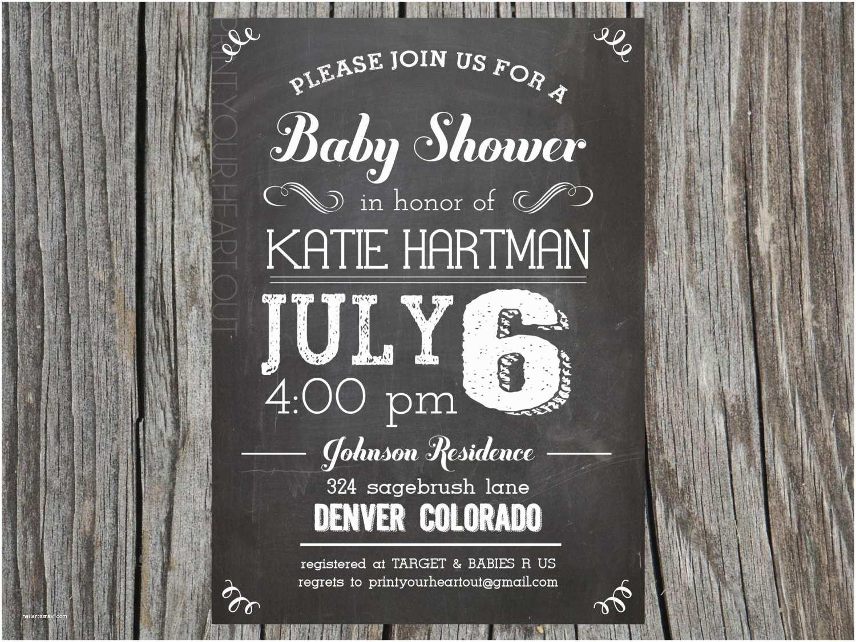 Chalkboard Baby Shower Invitations Chalkboard Vintage Baby Shower Invitation By