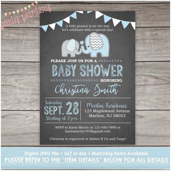 Chalkboard  Shower Invitations Elephant  Shower Invitation Boy Chalkboard