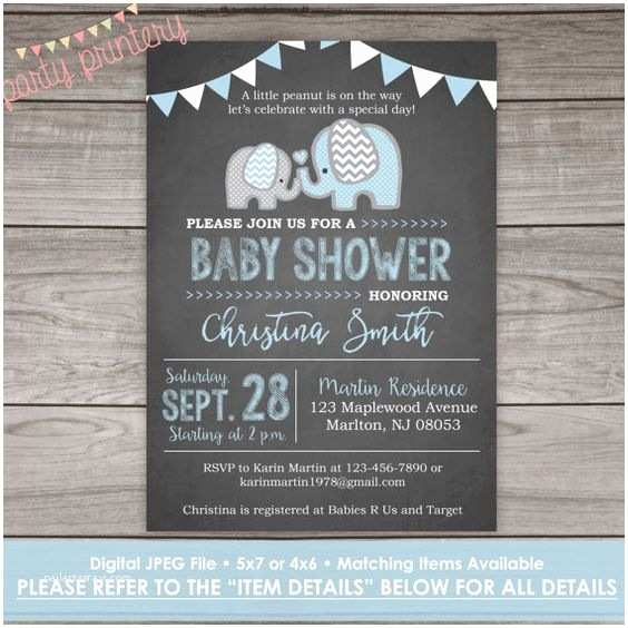Chalkboard Baby Shower Invitations Elephant Baby Shower Invitation For A Boy Chalkboard