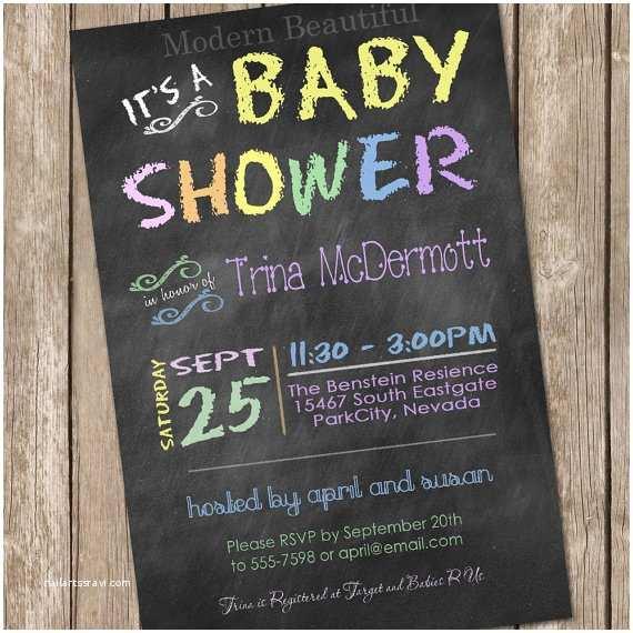 Chalkboard Baby Shower Invitations  Chalkboard Baby Shower Invitation Chalkboard
