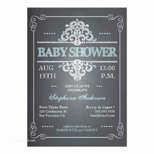 Chalkboard Baby Shower Invitations Vintage Chalkboard Baby Shower Boy Blue Invitation Card