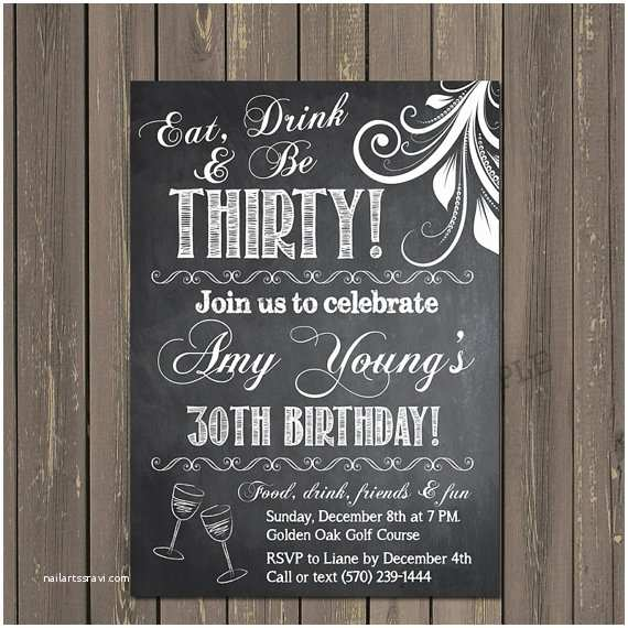 Chalkboard Birthday Invitations Adult Birthday Invitation 30th Birthday Invitation