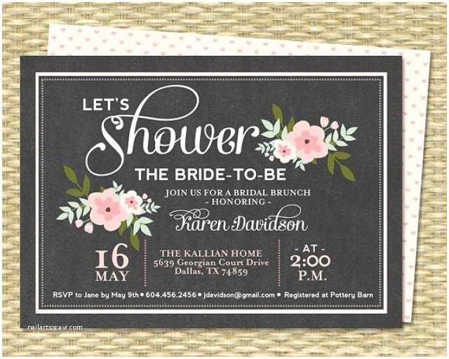 Chalkboard Birthday Invitations Bridal Brunch Invitation Chalkboard Floral Bridal Shower