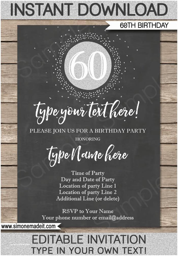 Chalkboard Birthday Invitations Chalkboard 60th Birthday Invitations Template