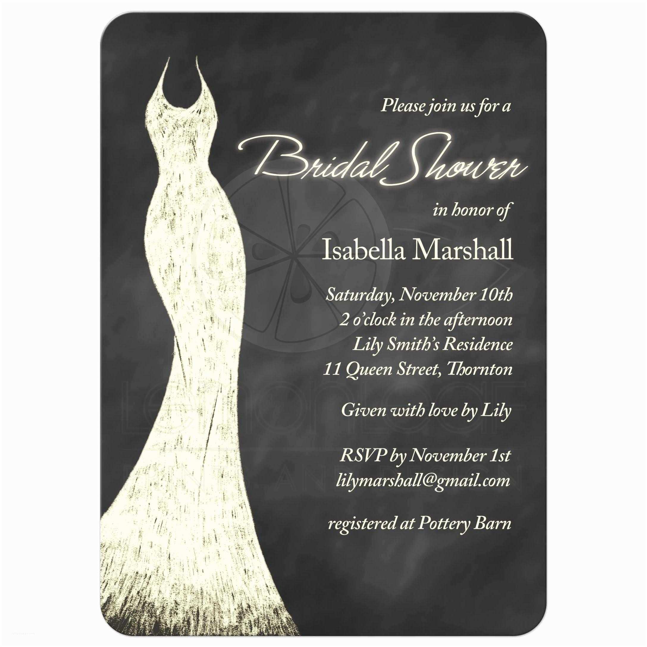 Chalkboard Bridal Shower Invitations Bridal Shower Invitation Yellow Chalkboard