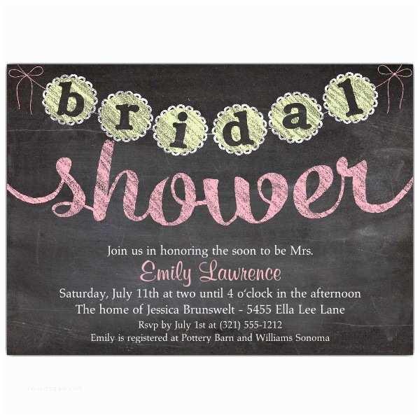 Chalkboard Bridal Shower Invitations Chalk Banner Bridal Shower Invitations