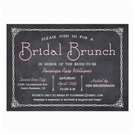 Chalkboard Bridal Shower Invitations Chalkboard Bridal Brunch Bridal Shower Invitation Card