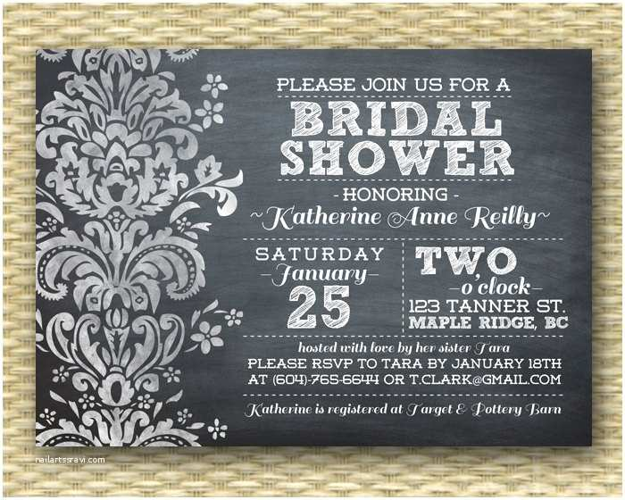 Chalkboard Bridal Shower Invitations Chalkboard Bridal Shower Invitation Black White Damask Wedding
