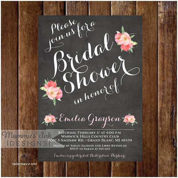 Chalkboard Bridal Shower Invitations Chalkboard Bridal Shower Invitation Floral Bridal Shower