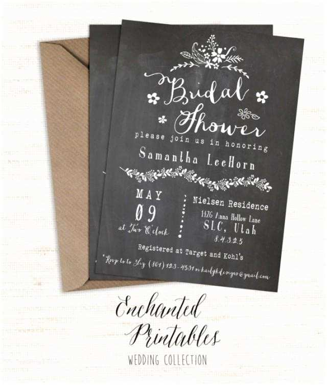 Chalkboard Bridal Shower Invitations Chalkboard Bridal Shower Invitation Printable Bridal