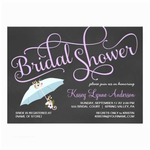 Chalkboard Bridal Shower Invitations Chalkboard Bridal Shower Umbrella Invitations